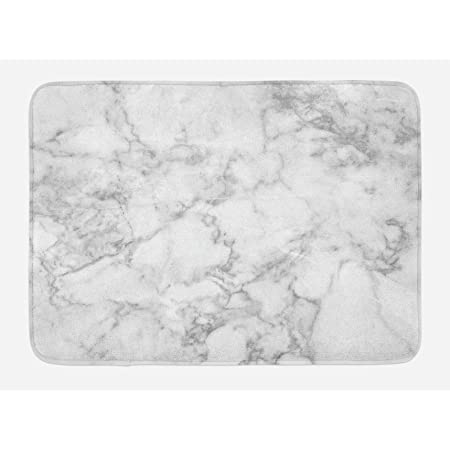 Ambesonne Marble Bath Mat Carrara Marble Tile Surface Organic Style Granite Model Modern Design Plush Bathroom Decor Mat With Non Slip Backing 29 5 X 17 5 Grey White Kitchen Dining