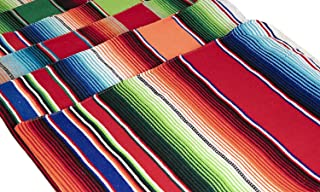 Threads West Genuine Mexican Table Runner Saltillo Serape Colorful Striped Sarape Made in Mexico Sold in Different Packs (3, Random Color)