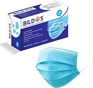 Bildos 3Ply Non-Woven Fabric Disposable Surgical Dust Mask With Nose Clip (Blue, Pack of 100)