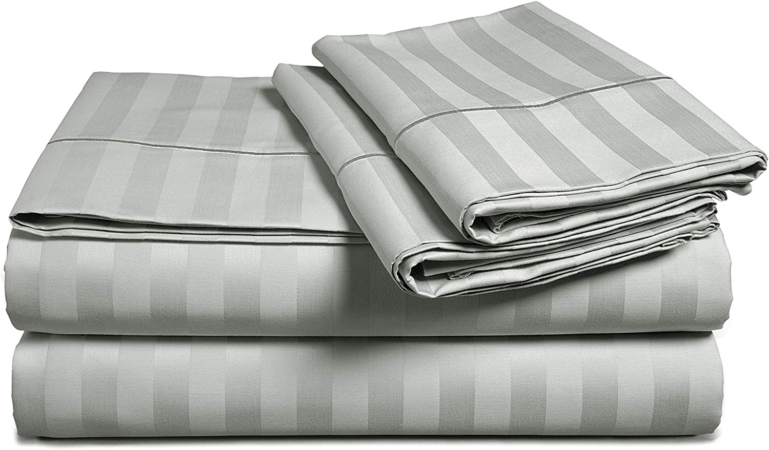 Chateau Home Hotel Collection - Luxury 500 Thread Count 100% Egyptian Cotton Damask Stripe Deep Pocket Super Soft Sateen Weave Sheet Set, Mega Sale Lowest Prices (Cal King, Silver)