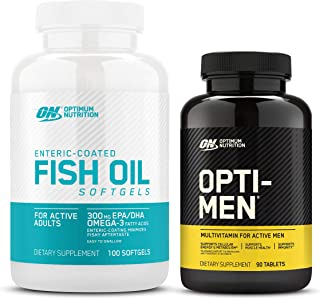 Optimum Nutrition - Omega 3 Fish Oil, 300MG, Brain Support Supplement, 100 Softgels with Opti-Men, Vitamin C, Zinc and Vit...