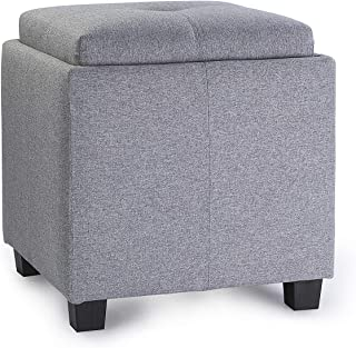Enova Home Victoria 18 Inches Modern Linen Fabric Square Storage Ottoman for Living Room (Grey)