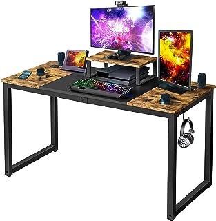 Yaheetech Bureau Informatique, Table d'Ordinateur, 140 x 60 x 75cm, Bureau Gaming/Travail/d'Étude avec Support de Moteur/2...