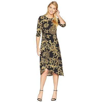 Donna Morgan Printed Jersey Dress with Asymmetrical Hem (Black/Gold Multi) Women
