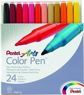 Pentel Color Marker Set, Fine Fiber Tip, Assorted Colors, Set of 24