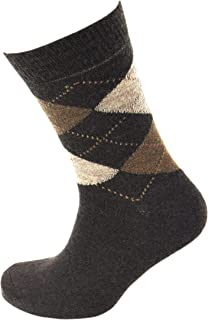 Viyella Made in England Mens Brown Argyle Wool Socks