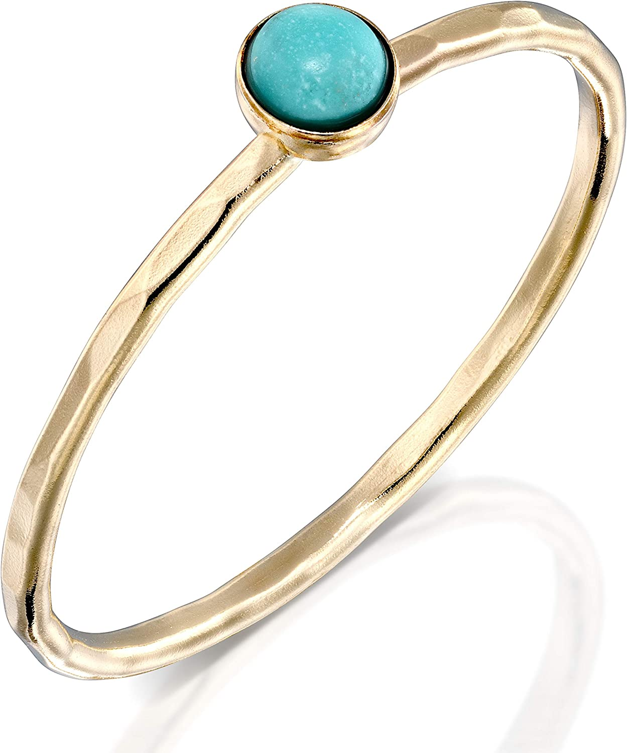 FABIN JEWELRY Handmade Hammered Gold Filled and Your Choice of Stone Stackable Ring
