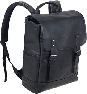 """Kenneth Cole Reaction Colombian Leather Single Compartment Flapover 14.1"""" Laptop Backpack (RFID), Black"""