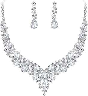 Clearine Damen Hochzeit Braut Österreichen Kristall Tropfen Cluster Statement Halskette Dangle Ohrringe Schmuck Set