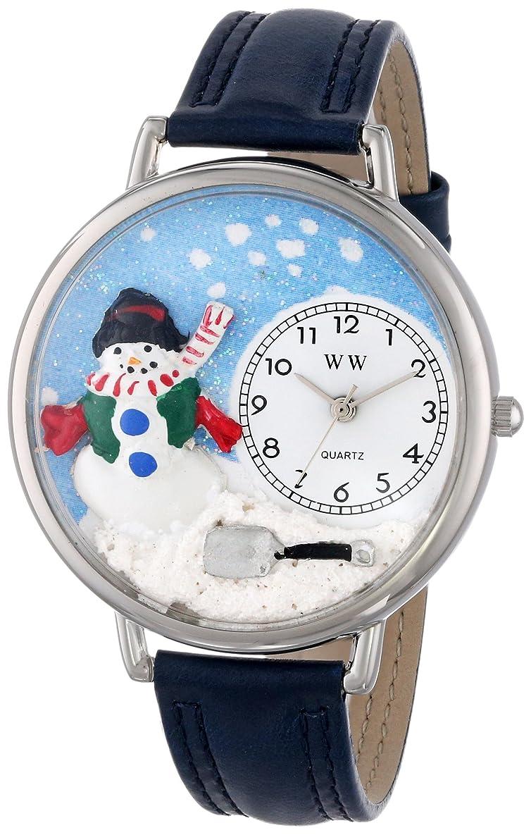 惑星花に水をやる該当するクリスマス 雪だるま 赤レザー シルバーフレーム 時計 #U1220008