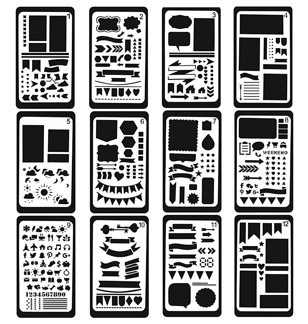 12 Pcs Bullet Journal Stencil Template Set for Drawing/Notebook/Scrapbook/Journaling and Other DIY Craft Projects