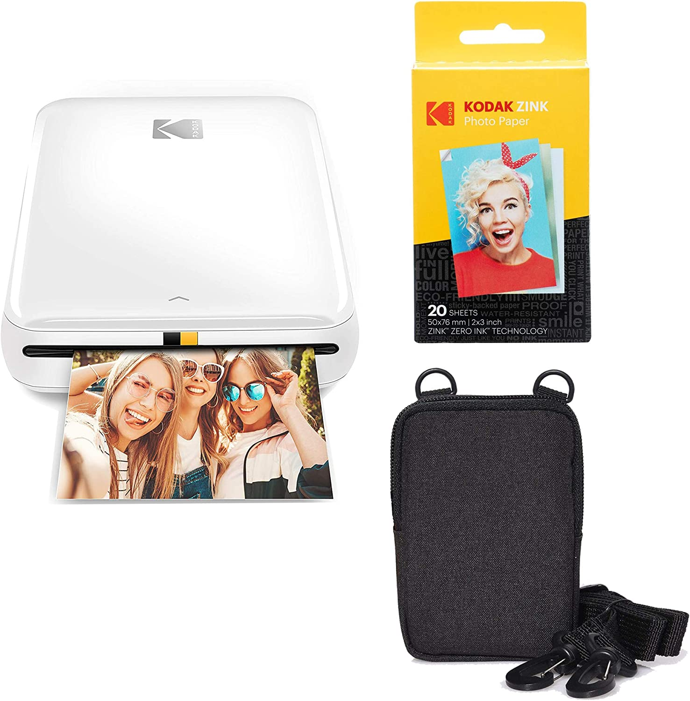 KODAK Step Wireless Mobile Photo Mini Printer (White) Go Bundle