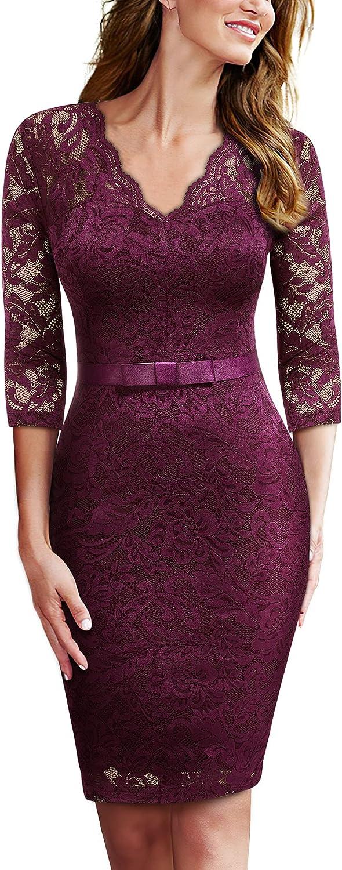 Miusol Women's Retro Floral Lace V Party Cheap bargain Credence Neck Bow Dr Slim Design