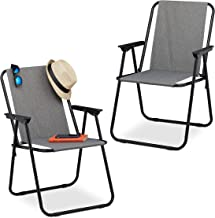 Relaxdays Campingstoel, set van 2, opvouwbare campingstoel met armleuningen, tuin & balkon, klapstoel, 74,5 x 51,5 x 51 c...