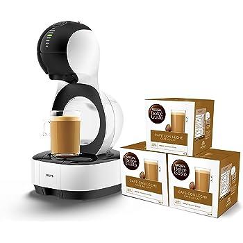 Pack Krups Dolce Gusto Lumio KP1301 - Cafetera de cápsulas, 15 bares de presión, color blanco + 3 packs de café Dolce Gusto Con Leche: Amazon.es: Hogar