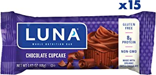 LUNA BAR - Gluten Free Snack Bars - Chocolate Cupcake Flavor - (1.69 Ounce Snack Bar, 15 Count)