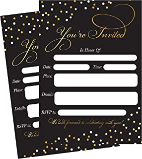 50 Fill In Invitations, Black Wedding Invitations, Bridal Shower Invitations, Rehearsal Dinner, Dinner Invite, Baby Shower...