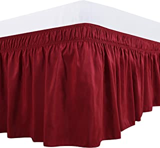 Biscaynebay Wrap Around Bed Skirts Elastic Dust Ruffles, Easy Fit Wrinkle and Fade Resistant Textured Silky Luxrious Fabric Solid Color, Lipstick Red Full and Twin 15 Inches Drop