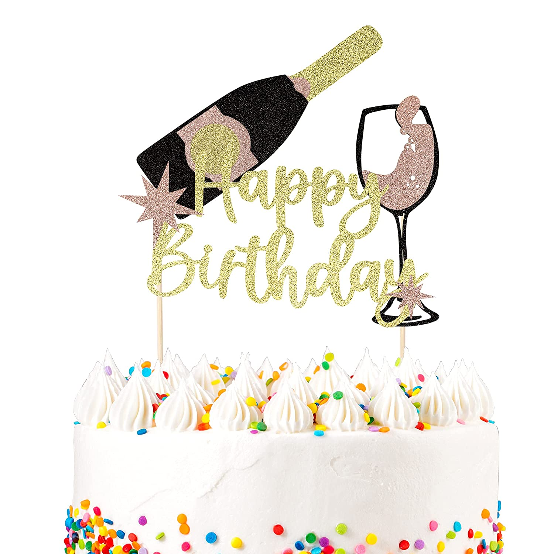 1 Max 40% OFF PCS Champagne Happy Birthday Glitter Cake Che wholesale Assembled Topper