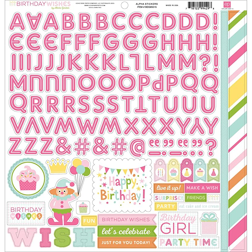 Echo Park Paper Birthday Wishes Girl Cardstock Alpha Stickers, 12