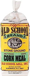 Authentic Old School Brand Stone Ground, Self-Rising, White Cornmeal (2 Pound Bag) - Made with NON-GMO Select North Caroli...