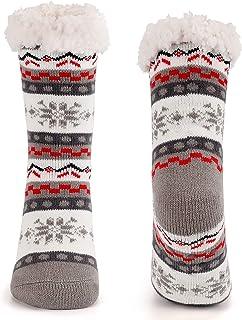 Termiska strumpor för kvinnor extra mjuka fluffiga halkfria termiska strumpor (grå)