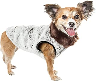 Pet Life ® Luxe 'Purrlage' Pelage Designer Fur Dog Coat Jacket, Large, Grey