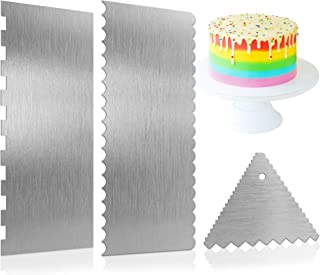 Stainless Steel Cake Scraper Smoother - 9 Inch Large Double Sided Metal Cake Scraper Edge Side Stripe Cake Comb Decoration...