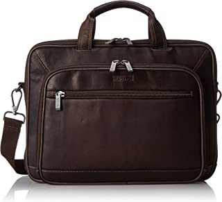 "Kenneth Cole Reaction Colombian Leather Dual Compartment Top Zip 16"" Laptop Portfolio, Brown"