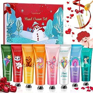 Crema Mani Regalo Natale, GLAMADOR 8+1pcs Crema Mani Kit 30ml & Balsamo per le Labbra, Crema per le Mani, Crema Mani Ripar...