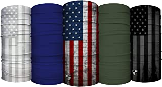 S A Shield Face For Men Shield Face For Women - قرمز ، سفید ، آبی 5 بسته چند منظوره UV صورت ، پیشانی بند ، باندانا