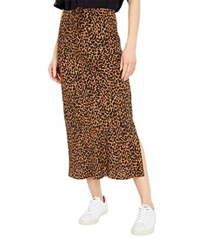 Madewell Drawstring Midi Slip Skirt in Brushed Leopard (Brushed Leopard Warm) Women