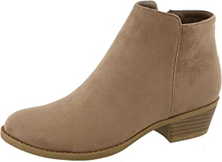 TOP Moda Women's Inside Zip Round Toe Low Block Heel Ankle Bootie (8.5 B(M) US, Taupe)