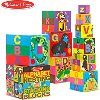 Melissa & Doug Deluxe 10-Piece Alphabet Nesting and Stacking Blocks