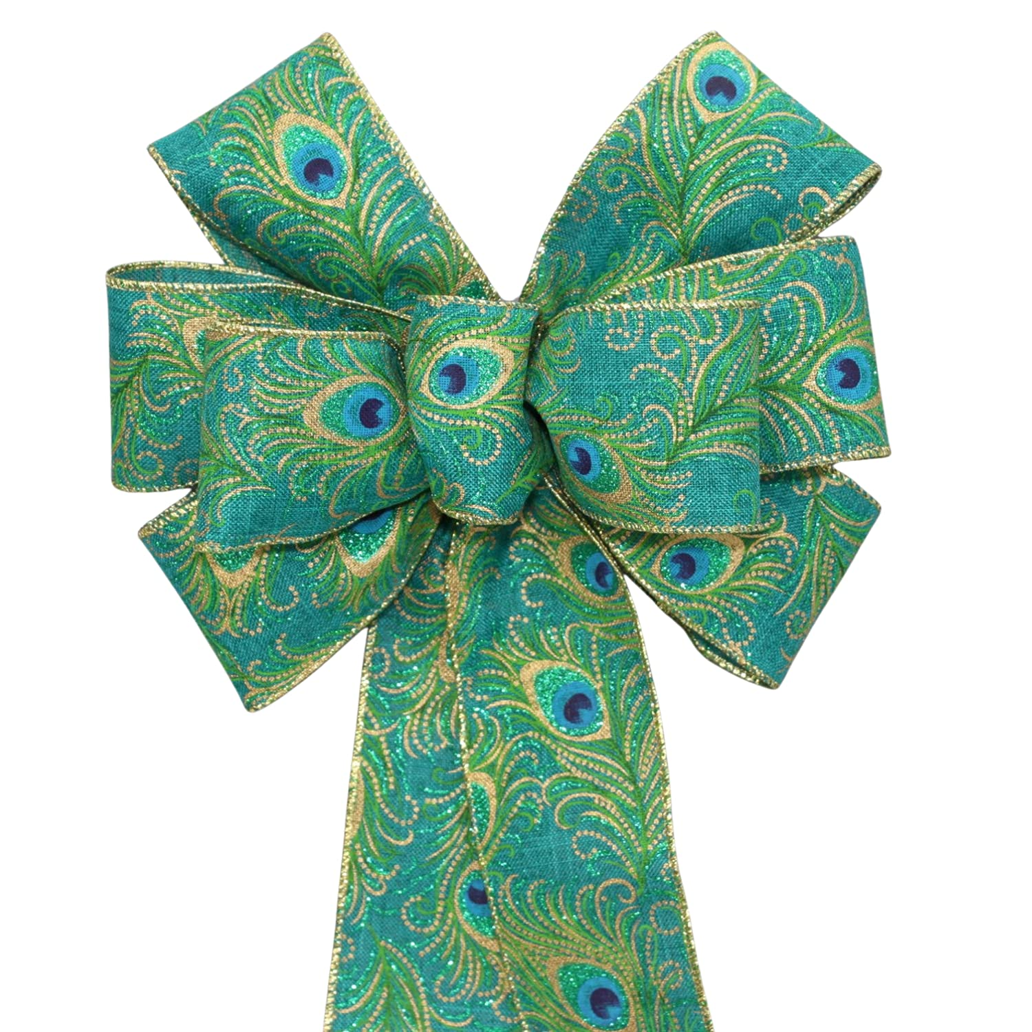 Teal Inventory cleanup selling sale Peacock Christmas Wreath Bow in Options 2 Size Same day shipping