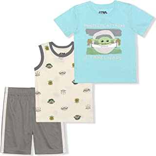 STAR WARS Lucasfilm Boy's 2-Piece Baby Yoda Curious Child Tee Shirt and Mesh Short Set