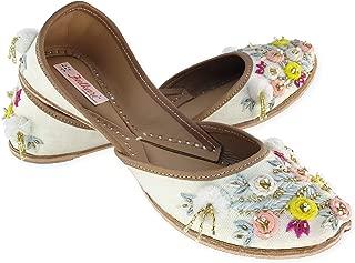 Fulkari Women's Alyssum Genuine Soft Leather Jutis | Bite and Pinch Free Jutis | Punjabi Jutti for Ladies Flat Mojari | Bridal Ethnic Flats for Girls |