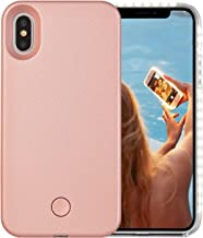 iPhone X Case, Wellerly LED Illuminated Selfie Light Cell Phone Case Cover [Rechargeable] Light Up Luminous Selfie Flashlight Case for iPhone X 5.8inch (Rose Gold)