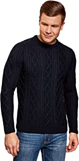 oodji Ultra Hombre Jersey de Punto Texturizado con Cuello Redondo