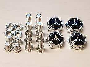 USA Seller Set of 4 Fit Mercedes Benz Logo Laser Engrav4Pcs Chrome Metal Car License Plate Frame Bolt Screws Rust Resistant Screws License Plate Covers & Frames Fasteners Accessories for Mercedes Benz