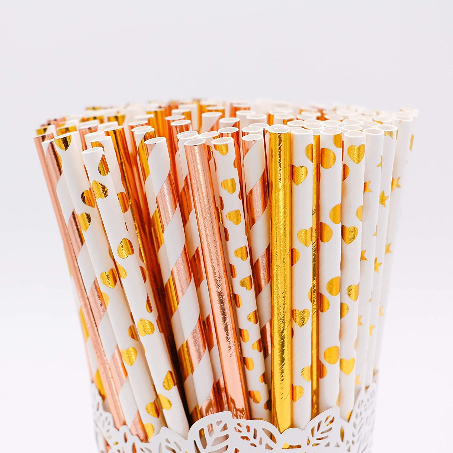 Minibaaa 200-Pack Surprise price Biodegradable Gold Straws Paper 7 Oakland Mall Rose