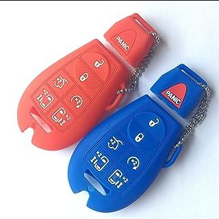 Black Blue 2Pcs Keyless4U Rubber Key Fob Cover Case Skin Jacket Protector for 2014 2015 2016 2017 Honda Odyssey EXL KR5V1X 6 Buttons