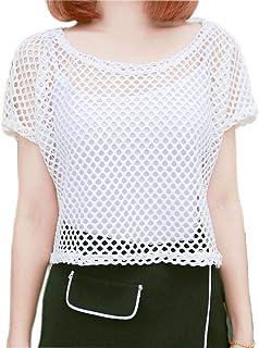 ab006671a033a6 Women s Short Sleeve See Through Sheer Mesh Fishnet T Shirt top