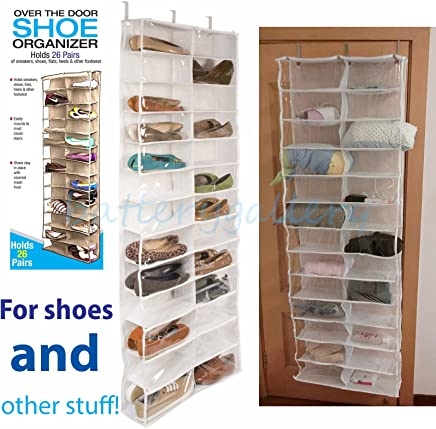 08fec33d88 EJZO 26 Pocket Over the Door Shoe Organizer Rack Hanging Storage Space  Saver Hanger