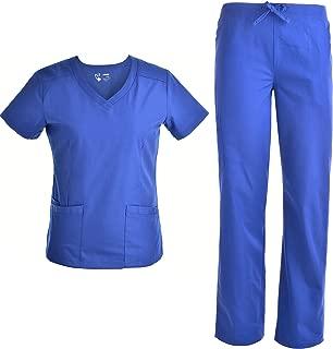 V Neck Women Nursing Scrubs Set - Pandamed Doctor Slim Scrubs Medical Uniforms Top and Pants JY1607