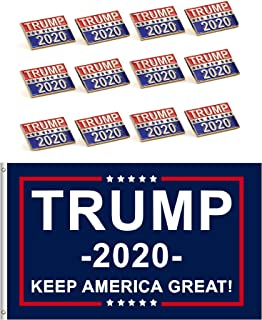Donald Trump for President 2020 Keep America Great Flag 3x5 Feet with Grommets Plus 12 Trump Pins