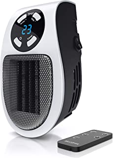 Brandson - Mini Calefactor cerámico 500W - Mini Calentador - Plug-in Enchufe - Mando a Distancia - Temporizador de 1 a 12 ...