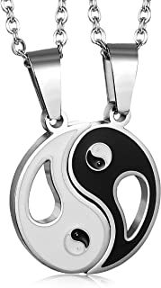Jstyle Jewelry 2 Piece Mens Womens Friendship Yin Yang Necklace Pendant Couples Necklace