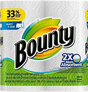 Bounty Select-a-Size 2 x More Absorbent Paper Towels,11 x 5.9-Inches, 96-PLY SHEETS,White (PACK OF 2)