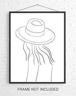 Abstract Female Form with Hat Line Art - 11x14 UNFRAMED Minimalist Decor Wall Print of Woman's Body Shape in Black on White